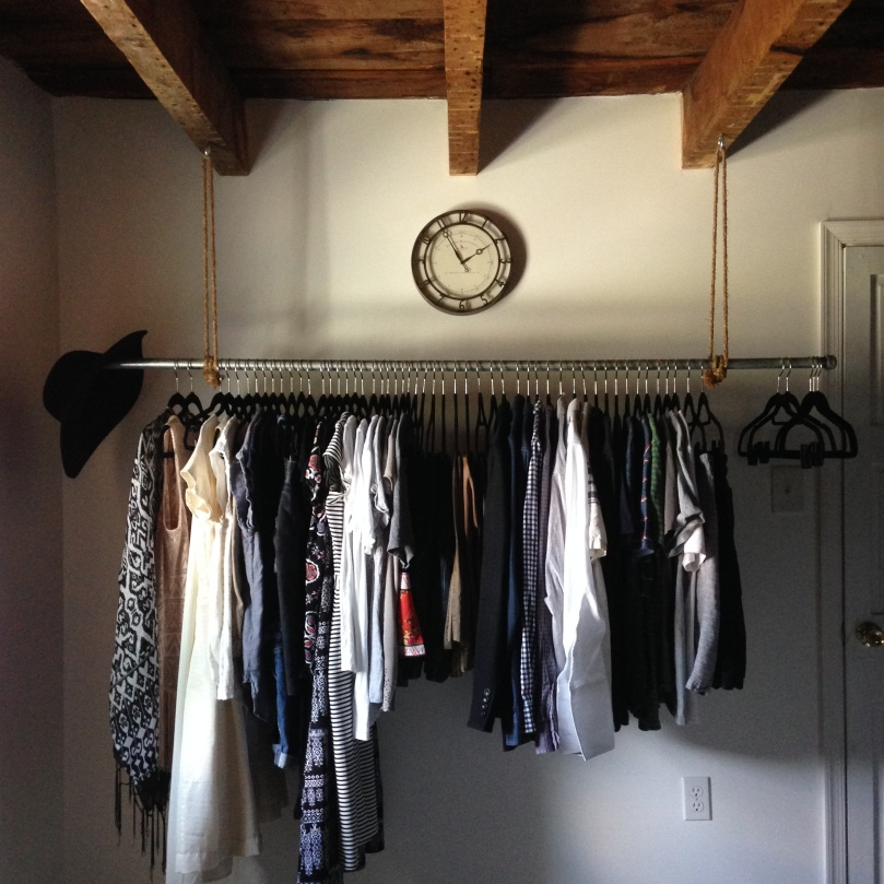 The solution to a closet less room easy diy industrial No closet hanging solutions